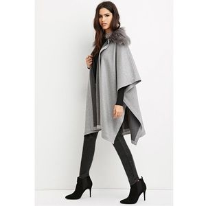 Forever 21 Heavyweight Gray Poncho Wool Cape S/M